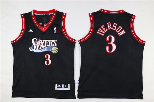 Kids NBA Jersey Allen Iverson 3 Black