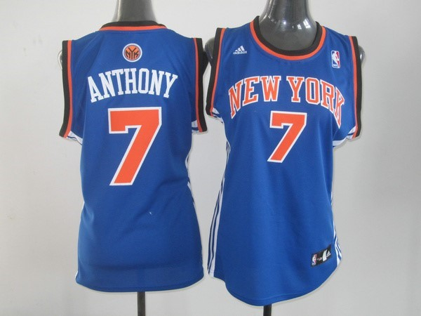 Womens NBA Jersey Carmelo Anthony 7 Blue Orange
